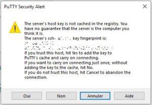 Alerte de sécurité Putty